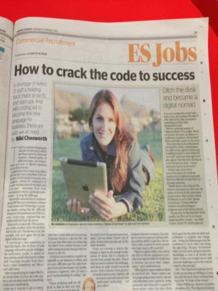 Natalie Sisson in the Evening Standard