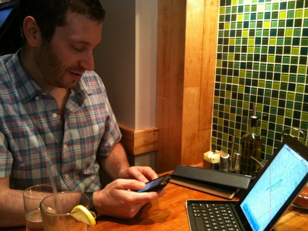 Matt Goldfarb demonstrates the Logitech Keyboard for iPad 2