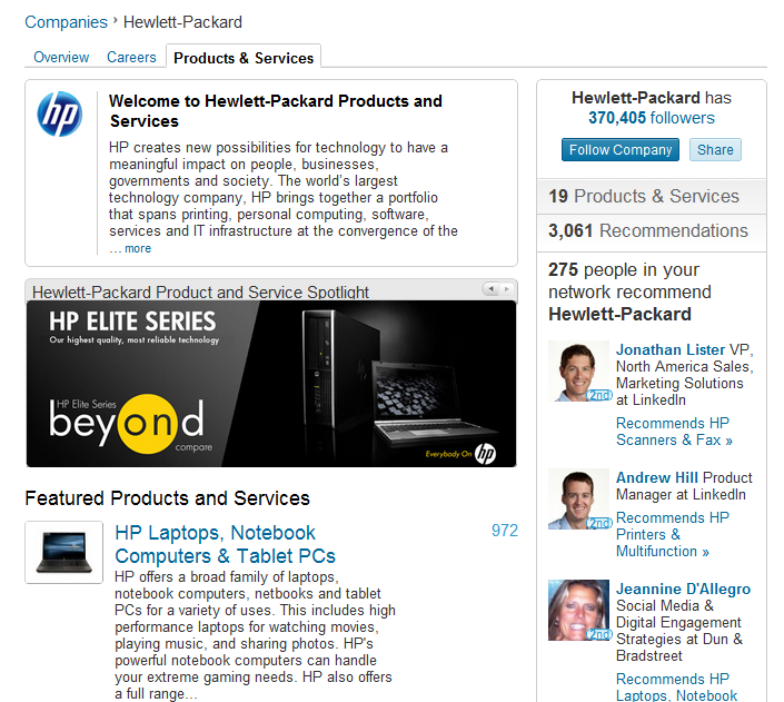 Hewlett Packard Shining Example of a LinkedIn Company Profile