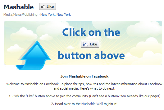 Mashable landing page call to action