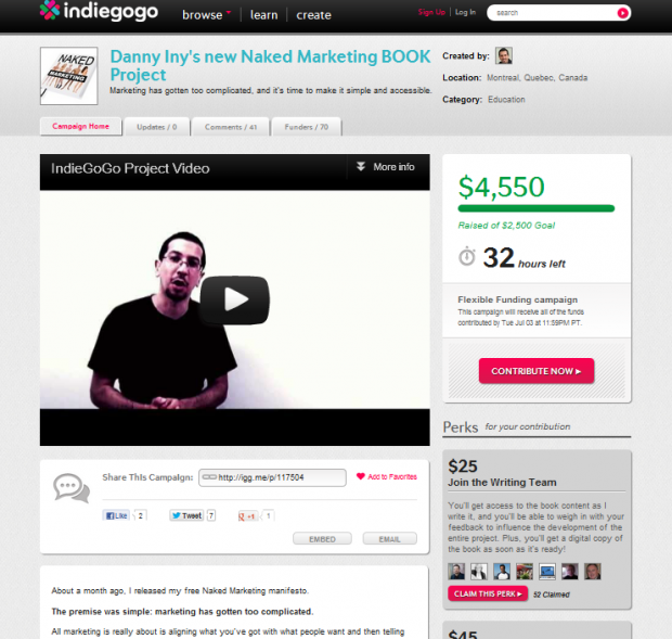 Indiegogo Danny Iny Naked Marketing project