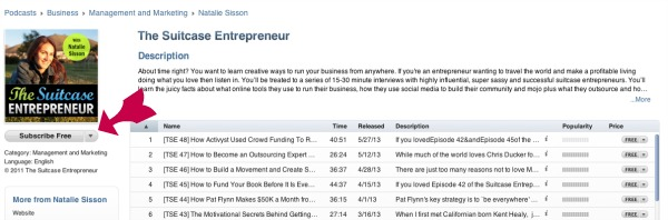 Finding the Suitcase Entrepreneur podcast in iTunes