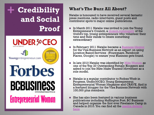 Credibility and Social Proof page of sponsorship kit