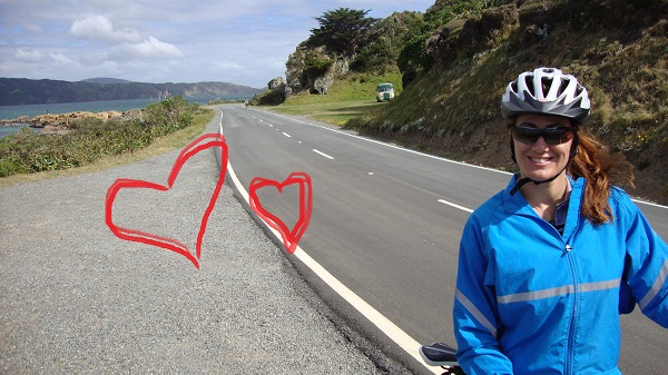 Natalie on the road with hearts