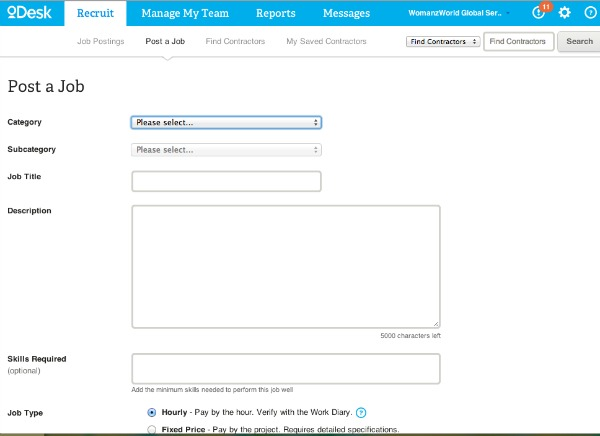 Posting a job on oDesk to outsource work