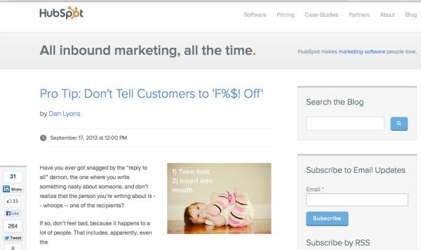 Hubspot blog exampe