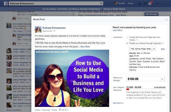 Facebook Boost Advertising Option